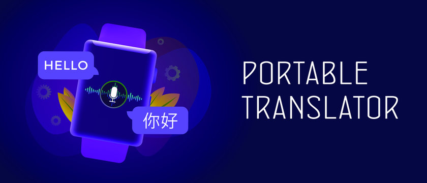 """Portable electronic language translator - digital application on smartwatch. Translation of the word """"hello"""" from English to Chinese. Header and footer banner template with text."""