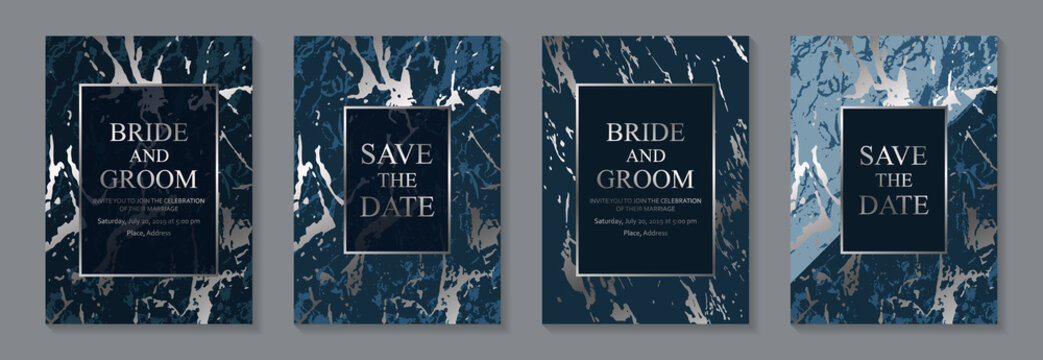 Set of abstract modern luxury wedding invitation design or card templates for business or presentation or greeting with silver marble texture on a navy blue background.