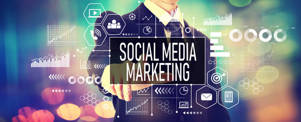 Social media marketing concept with a businessman on a shiny background Wall mural