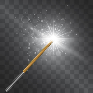 Magic wand silver flash. Vector isolated on transparent background. Wizard outfit accessorie, fairy tale spell stick with shining glittering miraculous light and stardust. Abracadabra conjuration toy.