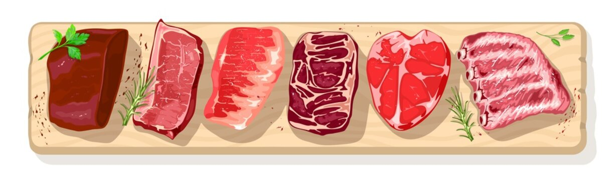 Different types of meat with greenery on chopping wooden board beef, pog, mutton, lamb, veal. Steak assortment for barbecue, butchery, farm market, charcuterie. Vector realistic illustration.