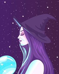 Meditating wiccan witch with purple hair holding a glowing neon crystal ball. Fortune teller absorbing energy from a magic object.