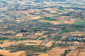 Aerial view of the agricultural fields near Trapani. Sicily.