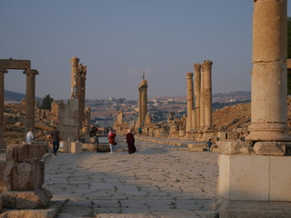 Wall Murals Egypt Pillars of roman ruins in the historic city of Jerash, Jordan, landscape of constructions build with columns