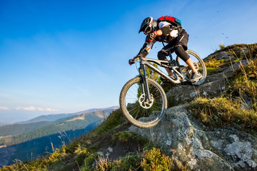 A man is riding enduro bicycle. Fototapete
