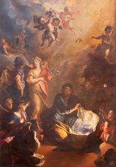 Fototapete - PRAGUE, CZECH REPUBLIC - OCTOBER 18, 2018: The baroque painting of St. Joseph and little Jesus in church kostel Svaté Voršily by Jan Bruno Rossi (1737-1739).