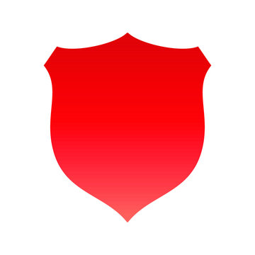 this image depicts a simple shield in a red color on a white background