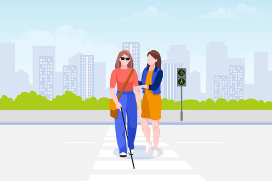 Woman helps blind woman cross road. Taking care of disability people. Vector illustration. Social support concept