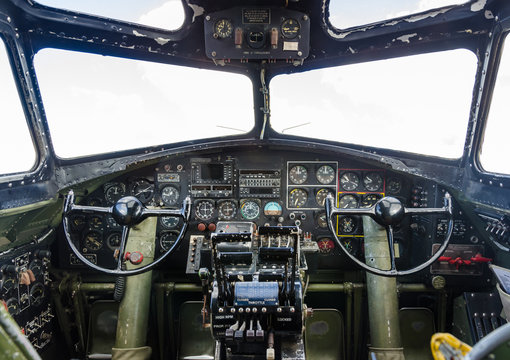 B-17 Flying Fortress cockpit with instrument panel and flight controls