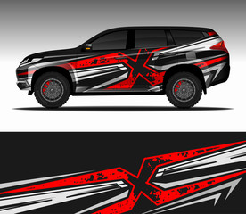 Car wrap decal design vector,  livery race rally car vehicle sticker. 4x4 Suv