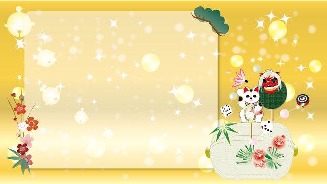 お正月の縁起物の俵飾りのイラストメッセージボード素材