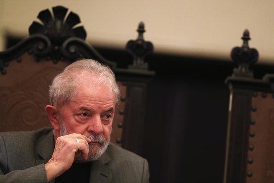 "Former Brazilian President Luiz Inacio Lula da Silva looks on during launch of the book ""Lawfare"", written by his lawyers, at University of Sao Paulo Law School in Sao Paulo"