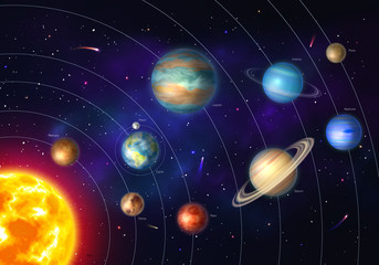 Colorful solar system with nine planets
