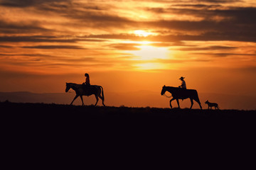 two horse riders in front of a beautiful sunset with a dog trailing behind Wall mural