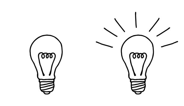 モノクロのシンプルな電球のイラスト