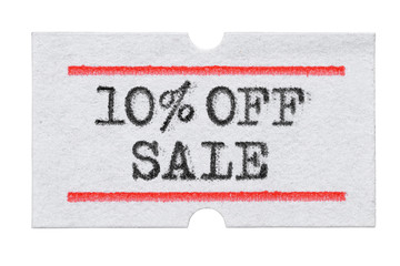 10 % OFF Sale printed on price tag sticker isolated on white
