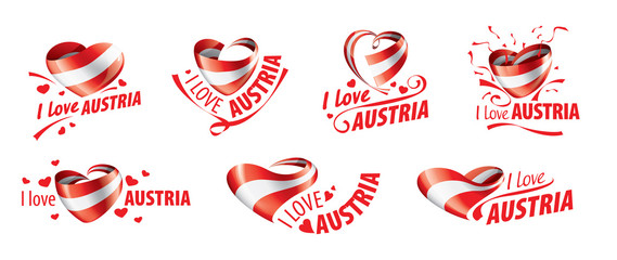 The national flag of the Austria and the inscription I love Austria. Vector illustration Fototapete