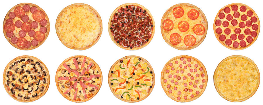 Set of pizza photos on a white isolated background