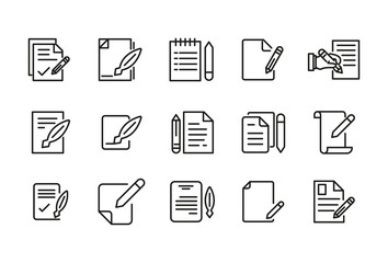 Stroke line icons set of contract.