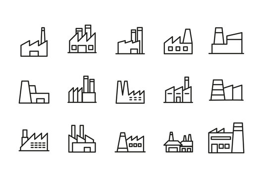 Stroke line icons set of factory.
