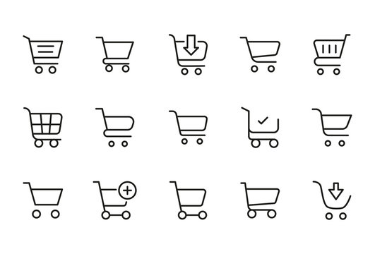 Modern thin line icons set of shopping cart.