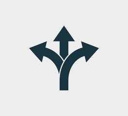 Fototapeta Arrow, three way, direction icon. Vector illustration, flat design obraz