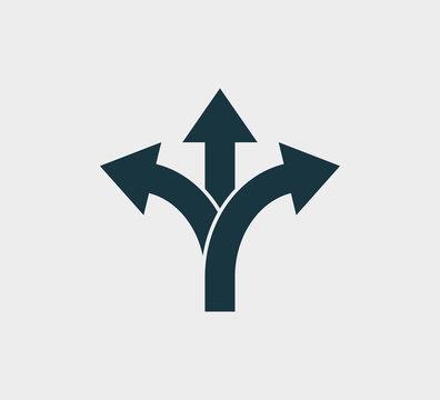 Arrow, three way, direction icon. Vector illustration, flat design