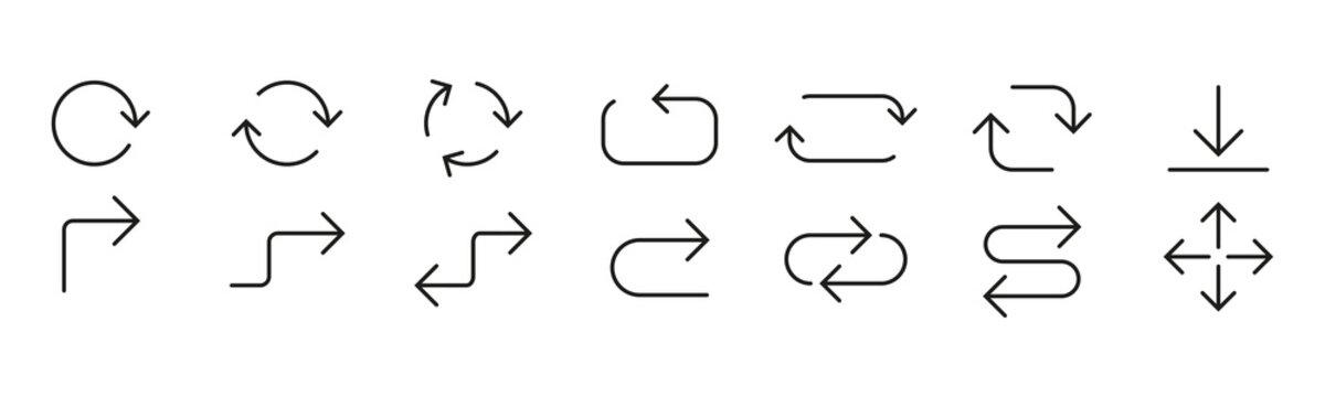 Line Arrow icon set. Vector illustration, flat design