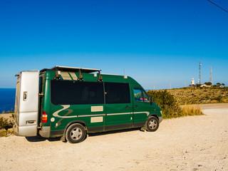 Camper car on Cape San Antonio, Spain
