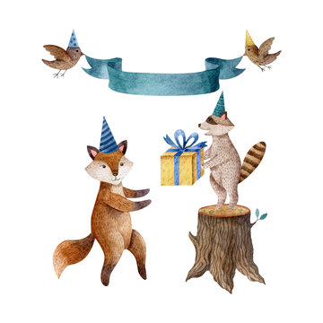 Watercolor illustration with fox in birthday cap and raccoon with yellow gift box, stump, birds and green ribbon. Childish style, animal characters, birthday and baby shower celebration clipart.
