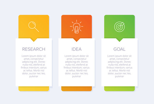 Concept of arrow business model with 3 successive steps. Three colorful graphic elements. Timeline design for brochure, presentation. Infographic design layout.