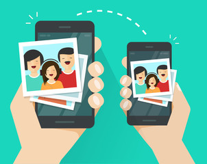 Photo pictures upload or sharing or transferring wirelessly between two connected mobile phones or cellphones vector, flat cartoon smartphones and photo files transfer network, air exchange