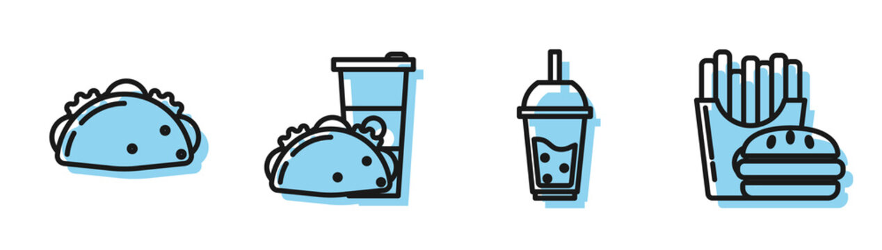 Set line Glass of lemonade with drinking straw, Taco with tortilla, Paper glass and taco with tortilla and Burger and french fries in carton package box icon. Vector