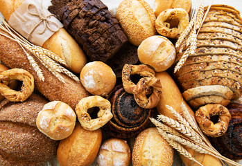 Poster de jardin Boulangerie Assortment of baked bread