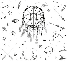 Set of hand drawn different design elements on white. Ornate dreamcatcher. Abstract mystic signs and symbols. Black and white illustration