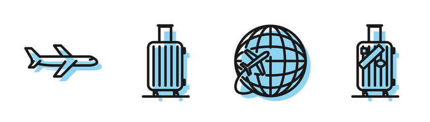Set line Globe with flying plane, Plane, Suitcase for travel and Suitcase for travel and stickers icon. Vector