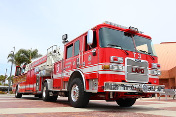 Los Angeles, California - May 18, 2019: LAFD Los Angeles Fire Department Truck in San Pedro, the port of Los Angeles