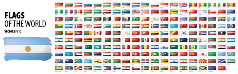 National flags of the countries. Vector illustration on white background Fototapete
