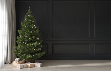 Festive interior in gray and beige with a minimalistic Christmas tree