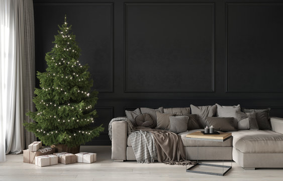 Festive living room with a beige cozy sofa and a Christmas tree with gifts