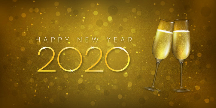 Happy New Year 2020 champagne toast