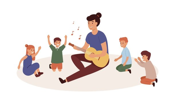 Kindergartener with kids group flat vector illustration. Nursery governess playing guitar. Music and singing lesson, game, entertainment. Smiling woman and children cartoon characters.