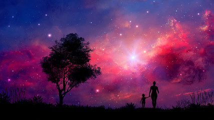 Mother and daughter walk in landscape with tree and colorful nebula. Parents concept background. Elements furnished by NASA. 3D rendering