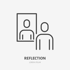 Person reflection in a mirror line icon, vector pictogram of confidence. Man looking at himself illustration, narcissism sign