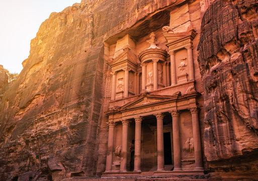 ruins of Al Khazneh treasury in Petra