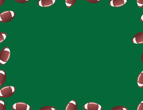 Brown Green American Football Balls Frame
