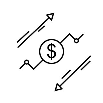 cost reduce vector icon. increase illustration sygm or symbol. risk analysis logo. benefit dollar concept.
