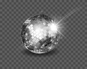 Disco ball. Shiny silver sphere isolated on a transparent background.