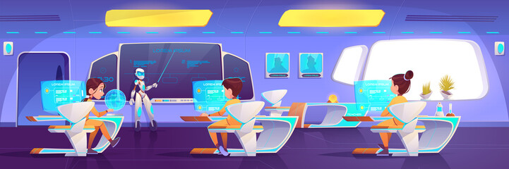 Futuristic classroom with kids and robot teacher. Cyborg with pointer giving lesson at digital blackboard, students sitting at desks with hologram monitors learning class. Cartoon vector illustration Wall mural