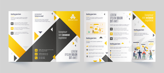 Tri-Fold Leaflet or Brochure layout with Business People Character and Infographic Elements in Font and Back View.